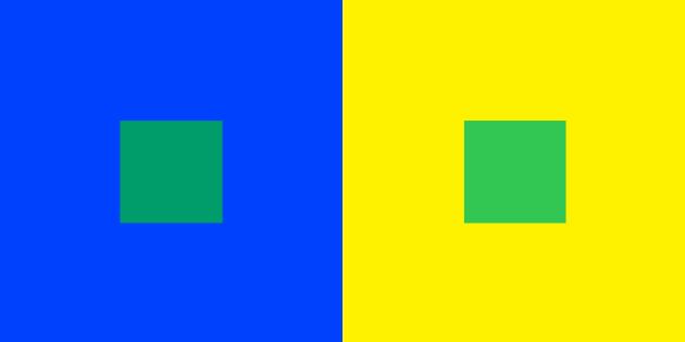 Percepció del color segons el contrast.
